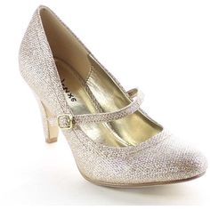 Beston BA20 Women's Low Heel Mary Jane Glitter Pumps ($40) ❤ liked on Polyvore featuring shoes, pumps, silver, mid-heel pumps, glitter pumps, platform pumps, low heel pumps and high heels stilettos