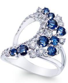 Sapphire (1-3/4 ct. t.w.) and Diamond (3/4 ct. t.w.) Drama Ring in 14k White Gold | macys.com