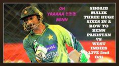 Shoaib Malik Three Huge Sixes in a Row To Benn - Pakistan vs west indies...