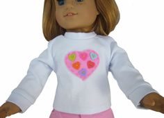 "Pink Heart Applique T-Shirt made for 18"" American Girl Doll Clothes SWEET #Generic"