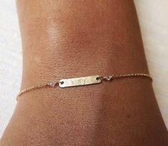 Gold Filled Tiny Bar Personalized Bracelet - Dainty Hammered ID Bracelet - Gold Initial Bracelet