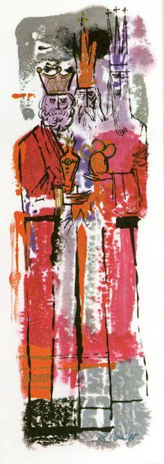 Three Kings Christmas card by Ralph Hulett. So MCM Company Christmas Cards, Christmas Cards To Make, Vintage Christmas Cards, Retro Christmas, Xmas Cards, Christmas Art, Yule Goat, California Christmas, We Three Kings