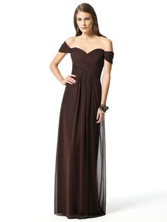 Espresso off the shoulder, floor length, empire waist long bridesmaid formal dress in lux chiffon has draped bodice and slight shirring at center front skirt.