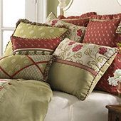 sage and maroon pillows.....love the colour combination.