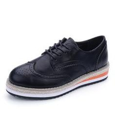 Brogue Shoes Woman Candy Colors Platform Oxfords British Style Creepers Cut-Outs - black / 7.5