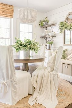 Our lush green breakfast room is filled with simple DIY decorating projects and decor touches that have it looking beautiful for the season. Here are some tips on how to add simple touches of green to Modern French Country, French Country Decorating, Fresh Farmhouse, Rustic Farmhouse, Farmhouse Style, Farmhouse Fireplace, Farmhouse Ideas, Farmhouse Design, Rooms For Rent