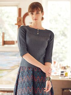 Ketu - This neat fitting ladies sweater with slash neck features in the Softyak DK collection. This pattern features deep garter stitch cuffs and yoke and would be suitable for the less experienced knitter Knitting Designs, Knitting Projects, Knitting Patterns, How To Make Clothes, Garter Stitch, Digital Pattern, Crochet Yarn, Dressmaking, Sweaters For Women