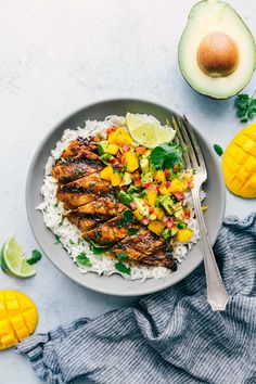 The best cilantro-lime chicken with a mango avocado salsa. This is the perfect healthy and delicious summer meal that everyone will love!