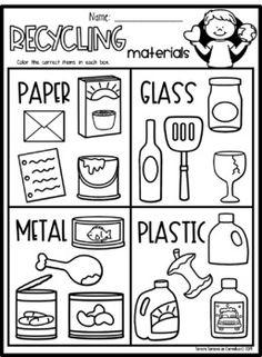 Preschool Science, Preschool Kindergarten, Science For Kids, Science Worksheets, Tracing Worksheets, Earth Day Posters, Recycling For Kids, Sorting Activities, Working With Children