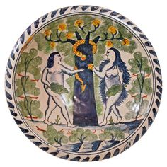 Adam and Eve Delft Charger with the Tree of Life and Snake. English, probably London, ca. 1680-1700. Ceramic, lead glaze on back, white tin glaze and polychrome on front.