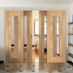 Easi-Slide OP1 Oak Latina Sliding Door System with Clear Glass in One Size Width and with sliding track frame. #slidingdoors #oakglazedslidingdoors #contemporarydoors