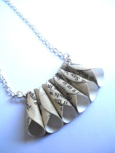 Book page Necklace - Shakespeare Necklace - Paper bead jewelry - Recycled Books. $29.00, via Etsy.
