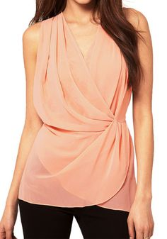 This ruched chiffon sleeveless chiffon blouse is a total essential for sophisticated lovelies like you.