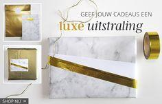Marmer en goud verpakkingsmateriaal