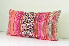 "RARE VINTAGE Handmade Boho Textiles Banjara Indian Mirror Embroidered & Hmong Ethnic Tradition Costume Pink Lumbar Pillow Case 12"" x 24"""
