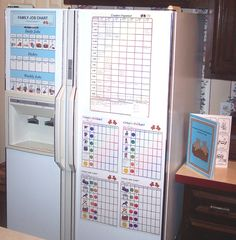 good idea for getting organized. Probably use it more for bills and other stuff. refrigerator chore station.