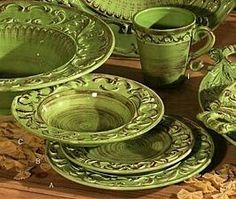 This earthenware comes in a set with four four-piece place settings. This set includes dinner plates salad plates ... & French Olive Dinnerware | Dinnerware/Dish Sets | Pinterest ...