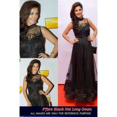 #Designer Suit #Bollywood Replica Party Wear Gown Shop now : http://www.valehri.com/black-net-designer-long-replica-gown-1614