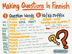 There are two ways of making questions in Finnish. by using question words by using the -ko/-kö suffix Finnish Grammar, Finnish Words, Finnish Language, Learn Finnish, Subject And Verb, Language Study, Foreign Languages, Helsinki, Vocabulary