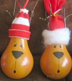 cute reindeer lightbulb ornaments