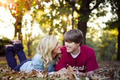 Great fall engagement photo.