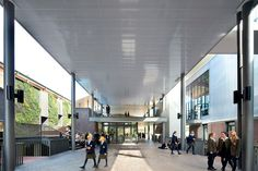 Ravenswood School for Girls by BVN Architecture - An external thoroughfare with central cafe form a new social hub for the school.