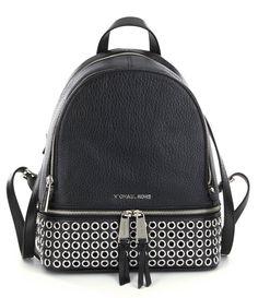 MICHAEL Michael Kors Rhea Black Leather Silver Grommet Medium Backpack Bag New #MichaelKors #Backpack