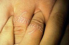 Wedding Band Tattoos White Ink