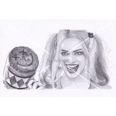 Pencil Drawing 'Harley Quinn A4, A5, A6 Portrait Print [Custom Art... ($5.14) ❤ liked on Polyvore featuring home, home decor and wall art
