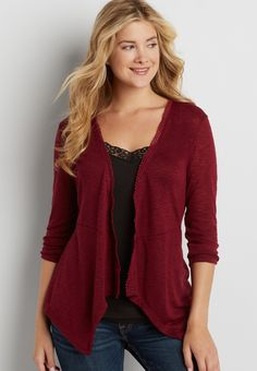 lightweight cardigan with crochet and embroidered mesh back (original price, $32.00) available at #Maurices