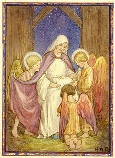 Lullaby, Thou Little Child' - Madonna and Child and three Angels in stable. A nativity scene. Christmas card.