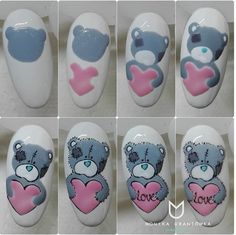 What manicure for what kind of nails? - My Nails Animal Nail Designs, Animal Nail Art, Nail Art Designs, Cute Nails, Pretty Nails, My Nails, Nail Art Coeur, Nail Drawing, Valentine Nail Art