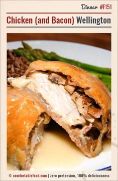 A close cousin to beef wellington, this chicken version is stuffed with cream cheese, mushrooms and bacon. Topped off with some homemade chicken gravy, it's completely comforting and delicio… Bacon Recipes, Chicken Recipes, Cooking Recipes, Pan Cooking, Pastry Recipes, Turkey Recipes, Chicken Wraps, Chicken Bacon, Chicken Wellington