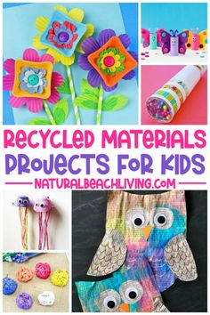 Recycled Materials Projects for kids using items you already have in your home. You'll find loads of fun ways to reuse toilet paper rolls, plastic bottles, bottle caps, cardboard boxes, and so much more with Recycled Crafts for Kids and DIY STEM Projects. Recycled Crafts Kids, Diy Crafts, Diy Toys Recycled Materials, Creative Crafts, Top Toddler Toys, Toddler Crafts, Spring Activities, Craft Activities For Kids, Toddler Activities