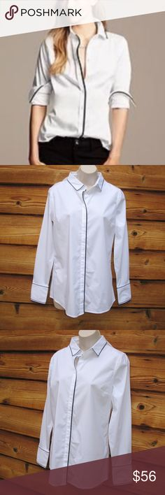 """NWT Banana Republic Button Down Top Blouse Banana Republic Button Down Top Blouse 8 (Not Factory)  Details: Banana Republic Size: 8 Color: White/Black Hidden button placket Tipped collar, cuffs and front of the shirt 97% Cotton/3% Elastane  Measurements: Length: 27"""" Bust: 38"""" Waist: 34"""" Banana Republic Tops Button Down Shirts"""