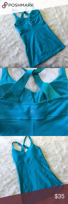 Lululemon Blue Tank This tank is in perfect condition! Comes with the pads! Size 4. Smoke and pet free home. No trades. Don't like the price? Make an offer! 😊👍🏼 lululemon athletica Tops Tank Tops