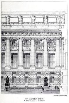 Competition design for the exterior facade of a monumental staircase, France