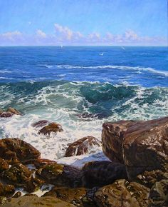 """Wet Stones"" is an oil painting by artist Gennadiy Kirichenko. Landscape Art, Landscape Paintings, Landscapes, Russian Painting, European Paintings, Sea Waves, Traditional Paintings, Painting Videos, Seascape Paintings"