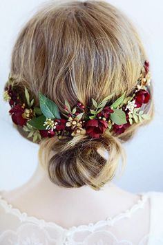 A realistic floral hair clip featuring burgundy blossoms, hydrangea seeds, ferns, leaves, and gold metallic accents. Swarovski pearls add a luxe effect. Length is approximate 11 from end to end. Bridal Headdress, Floral Headpiece, Headpiece Wedding, Bridal Headpieces, Wedding Veils, Best Wedding Hairstyles, Crown Hairstyles, Stylish Hairstyles, Bridal Hairstyles