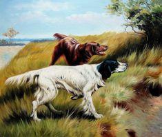 "antique Art Brencke 20/""x16/"" Canvas Art H 1877 Brittany spaniel Bird Dog"