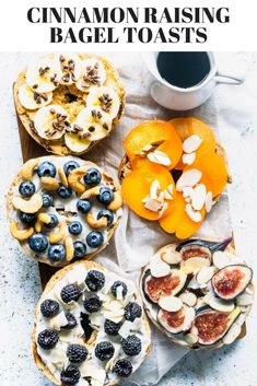 How to make bagel toasts. The most delicious toppings. I used my Sourdough Cinnamon Raisin Bagels to make these delicious toasts with a creamy layer, fruits, and a crunchy topping. Cinnamon Bagels, Cinnamon Raisin Bagel, Bagel Bar, Bagel Sandwich, Bagel Toppings, Bagel Shop, Sandwich Recipes, Brunch Recipes, Breakfast Recipes