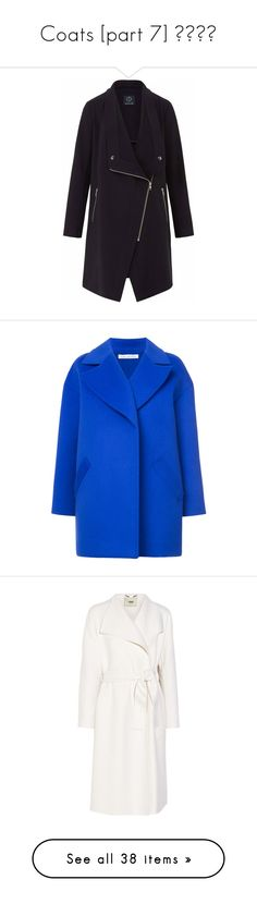 """Coats [part 7] ♤♡⛆🗻"" by janelee8598 ❤ liked on Polyvore featuring outerwear, coats, zipper coat, collar coat, drape collar coat, biker coats, oversized collar coat, blue, drop shoulder coat and oversized coat"