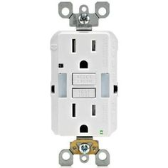 Combo 15 Amp 125-Volt Self-Test Duplex Guide Light and Tamper Resistant GFCI Outlet, White