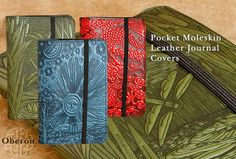 Gorgeous. I have a Kobo reader (actually a kindle but my Kobo fits!) and the work is superb AND made in the USA! // Pocket Moleskin Covers by Oberon design.