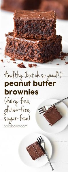 Healthy peanut butter brownies - polabaker.com  #polabaker #baking #healthybaking #healthy #dairyfree #sugarfree #glutenfree #brownies #peanutbutter #peanut #butter #recipe #brownie #coconutoil #chocolate #recipes #traybake