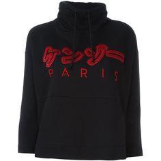 Kenzo embroidered sweatshirt ($154) ❤ liked on Polyvore featuring tops, hoodies, sweatshirts, black, embroidered cotton top, embroidered sweatshirts, kenzo top, kenzo and 3/4 length sleeve tops