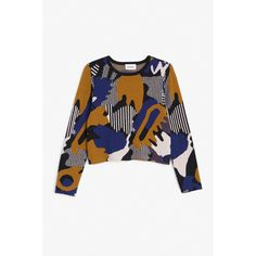 Monki Knit top ($49) ❤ liked on Polyvore featuring tops, pattern perfect, patterned tops, knit top, white crop top, long sleeve tops and crop top