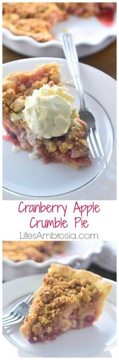 This Cranberry Apple Crumble Pie is a sweet and tart twist on the American classic and is perfect for all of your holiday celebrations.: