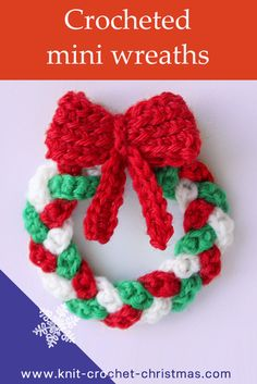 Crochet a mini wreath decoration for your Christmas tree. Step by step instructions for creating crochet Christmas ornament. Easy crochet, suitable for beginner crocheters.VIDEO TUTORIAL - Crochet mini Christmas wreath decoration ~ these are so cute Crochet Christmas Wreath, Christmas Yarn, Crochet Wreath, Crochet Christmas Decorations, Crochet Decoration, Crochet Ornaments, Christmas Knitting, Christmas Tree Ornaments, Christmas Crafts