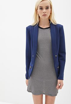 Structured Scuba Knit Blazer | FOREVER 21 - 2000087505
